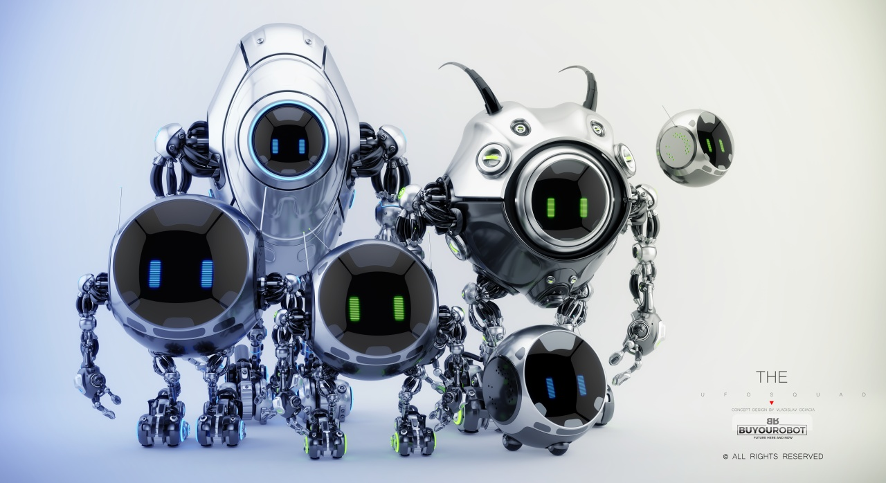 smart robot family of cute ufo creatures