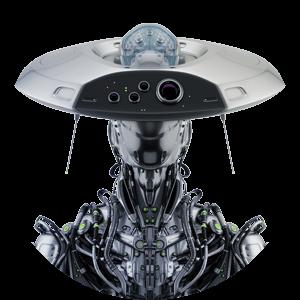 robot in hat