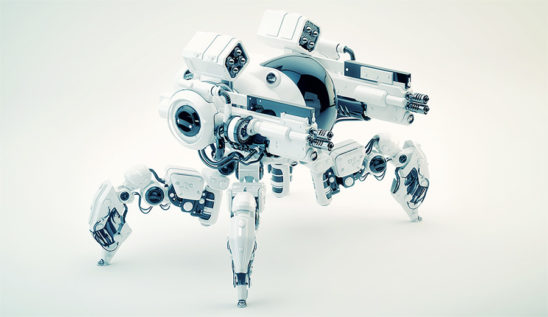 Armed Robotic spider 3d render
