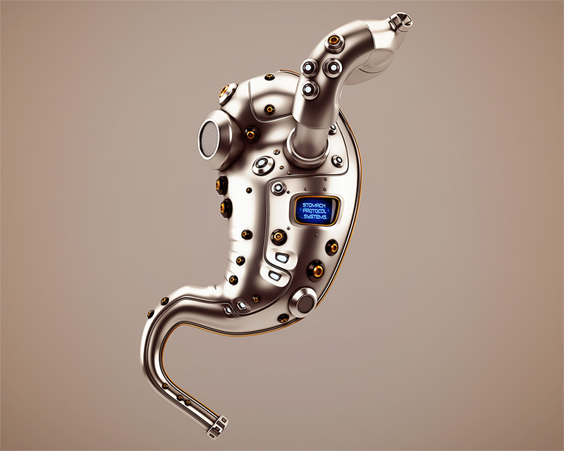 Artificial robotic internal organ - metal stomach with sensor