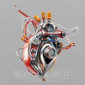 Heart robotic. Steel artificial organ