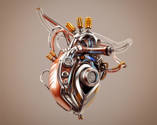 Eternal heart. Unique robotic internal organ - steel heart with info screen .