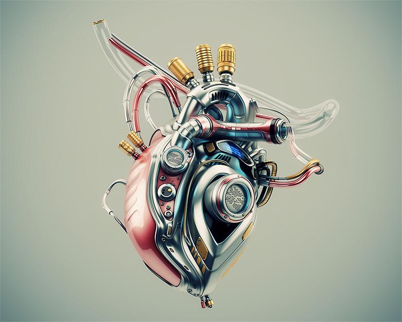Eternal heart.Unique robotic internal organ - steel heart with info screen .