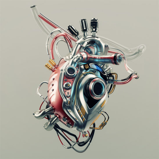 Artificial cyber heart. Eternal steel organ - heart