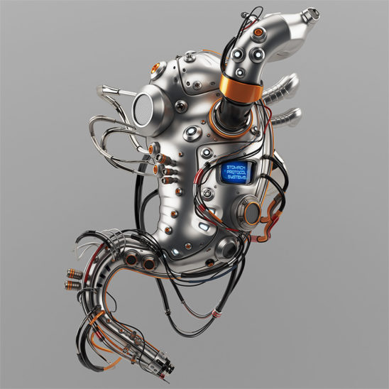 Stomach robotic organ.Artificial robotic internal organ - metal stomach with wires.