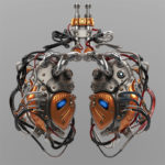 Artificial robotic internal organ - steel lungs with sensors.