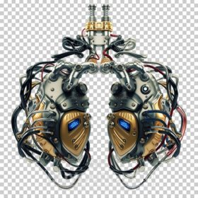 Artificial robotic internal organ - steel lungs with sensors.
