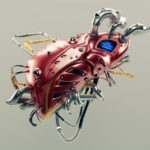 Liver Protocol Systems. Artificial robotic internal organ - steel liver with sensor.