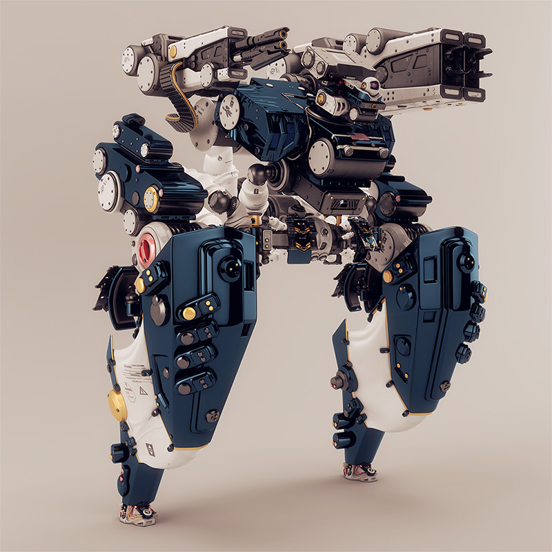 robotic creature with camera and weapons