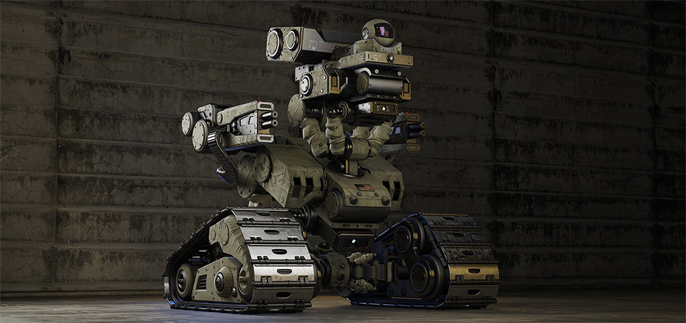 armed little military bot