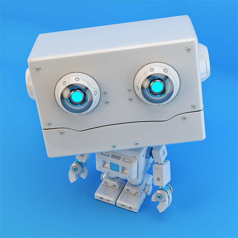 bot toy blue retro square
