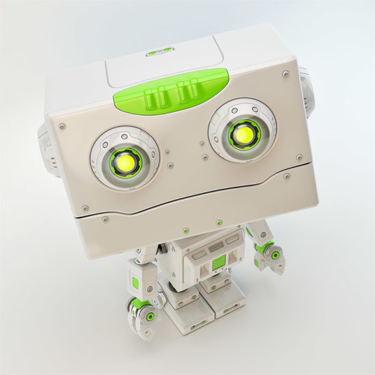 Retro styled little robotoy with square head and fashionable green hairstyle, upper angle