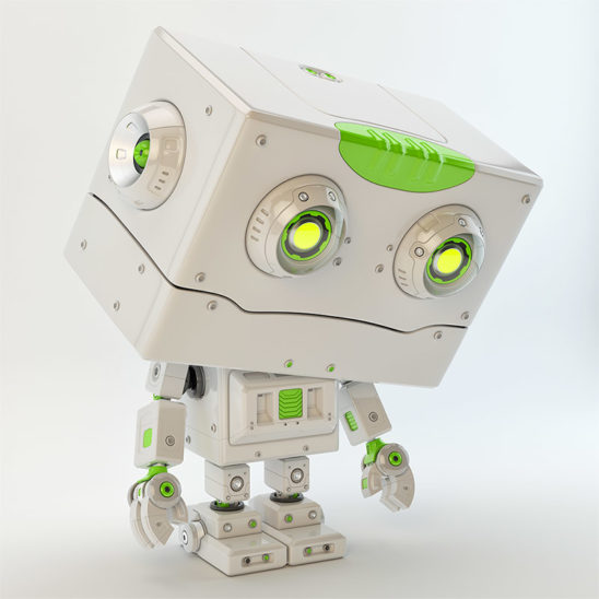 Upset robotic toy with square head