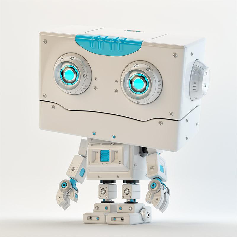 Stylish robo boy smiling with blue elments