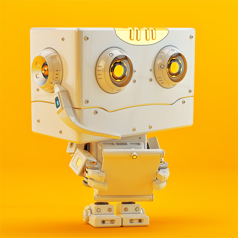 Retro styled little robotic toy with tablet and microphone