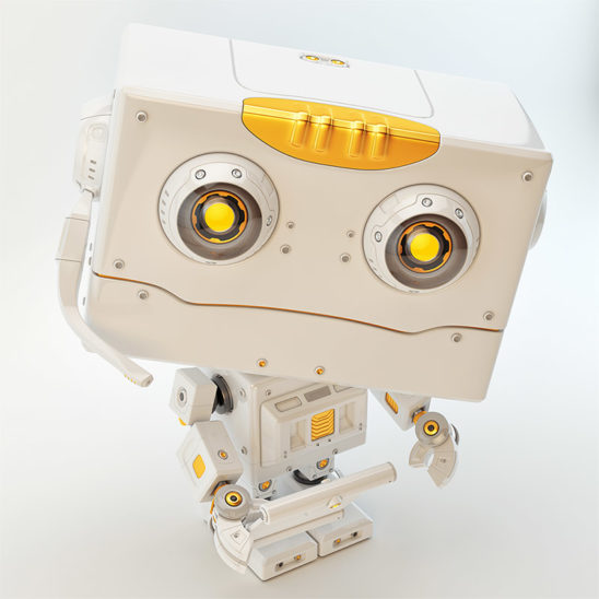 Robot toy with tablet looking into camera