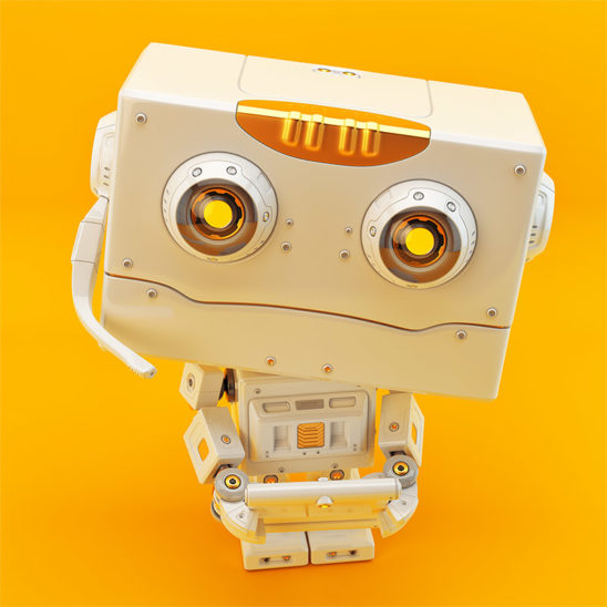 Cute childish robot with microphone and tablet on vibrant orange back