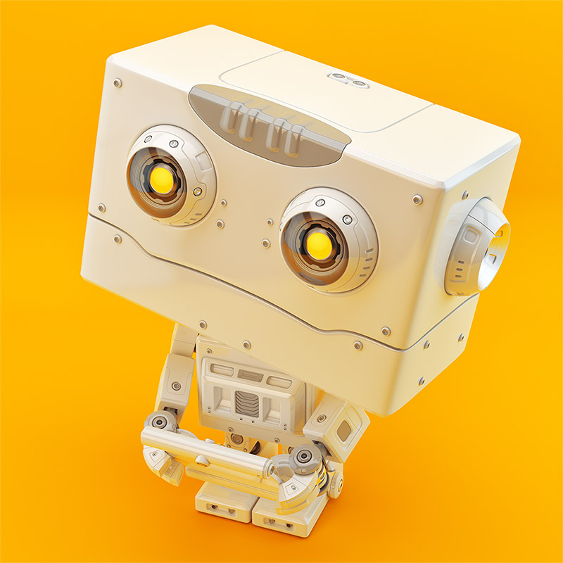 Robotic toy with square head holding tablet