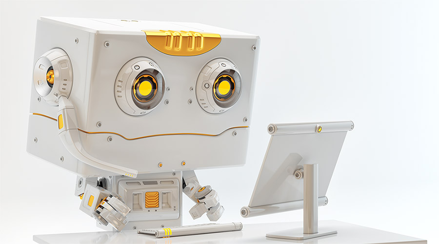 Cute robotic creature working on computer