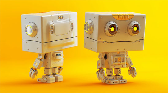 Robotic character in front and back