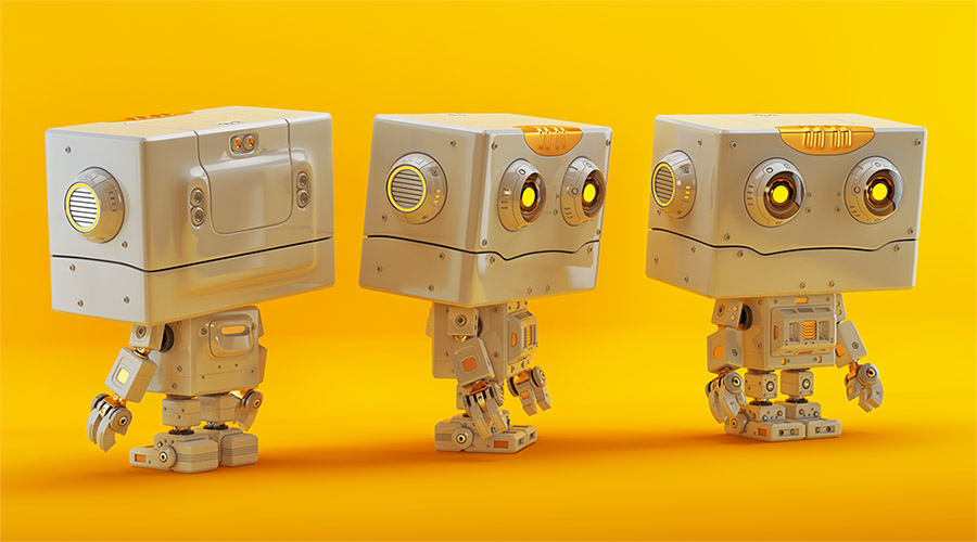 Cute robotic creature in front, side and back angles