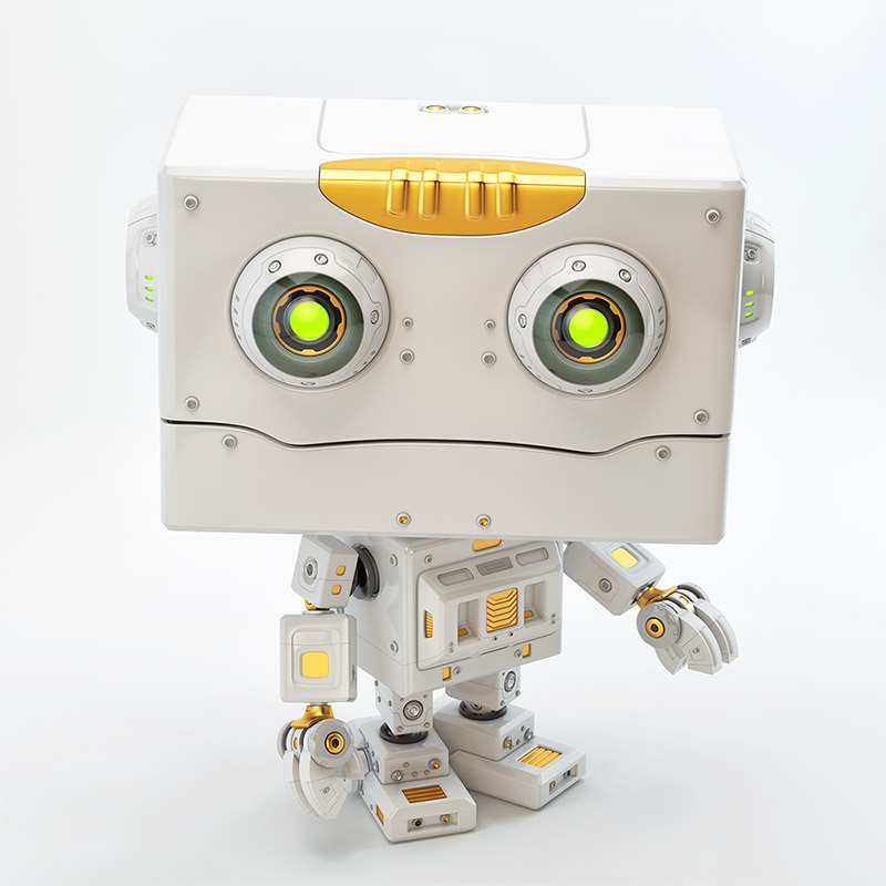 Stylish robot with gold elements