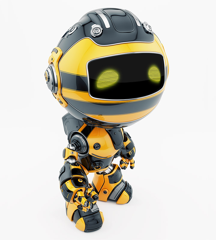 Cute little toy robot with war Paint coloring