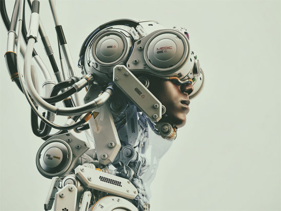 Dragonfly II. Wired black man in robotic medic suit. Profile 3d render