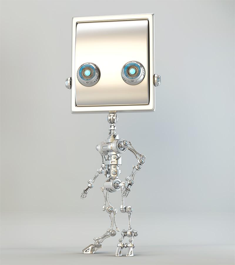 slim robotic character