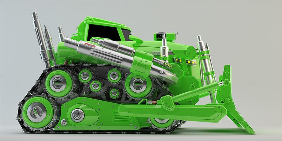 huge modern green bulldozer
