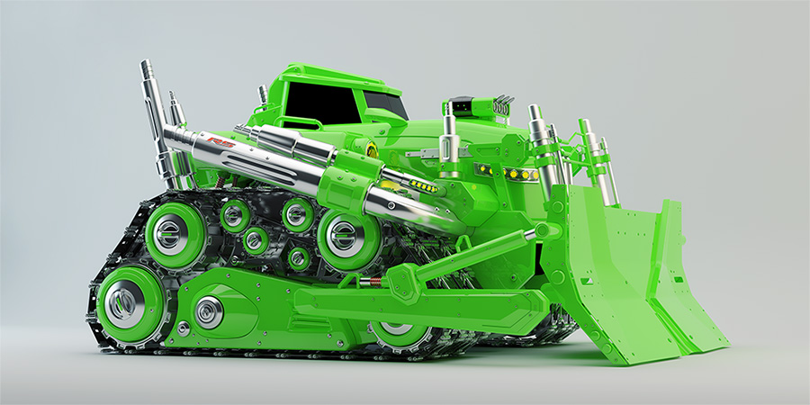 huge modern green bulldozer