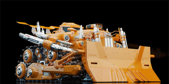 Powerful futuristic bulldozer