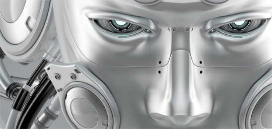 futuristic robot man face mask