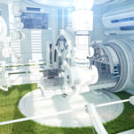 Hight-tech design of room with green grass inside