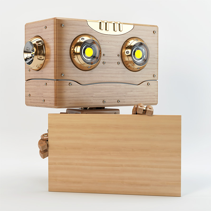 robot with square head holding board ad