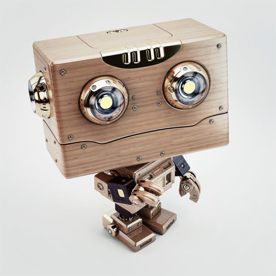 robot upper view wooden little child