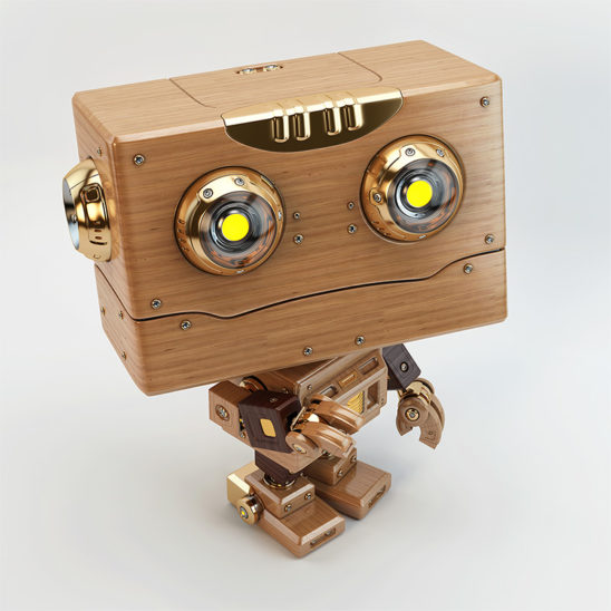 upper view robotic toy square head