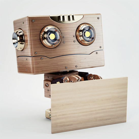 old school robot wooden with board