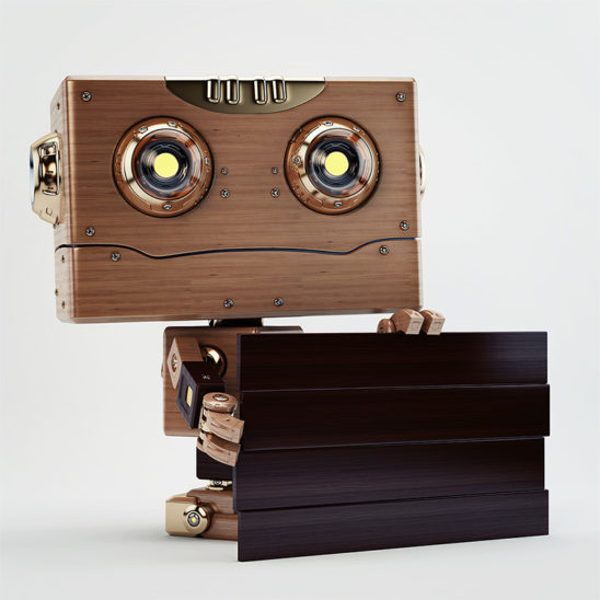 wooden robot with dark wood board