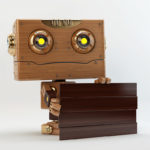 robot with dark wood board ad