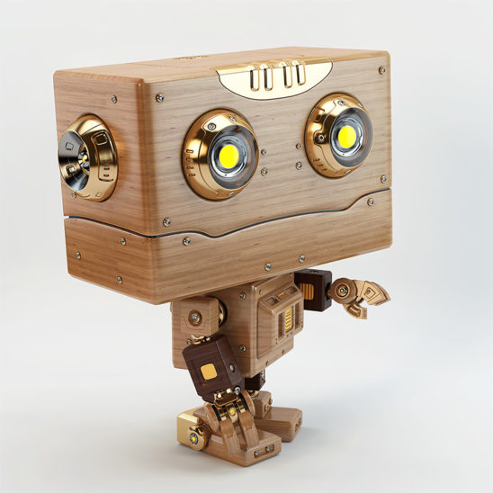 robot retro wooden with stretched arm
