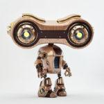 robot binoculars wooden retro
