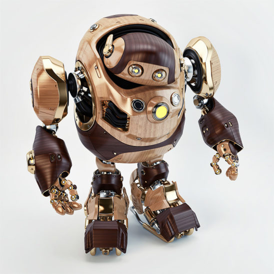 upper angle wooden toy robot