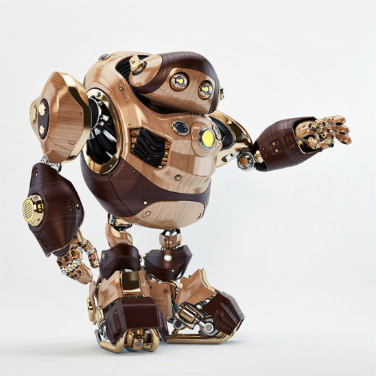 robot raising arm wooden retro