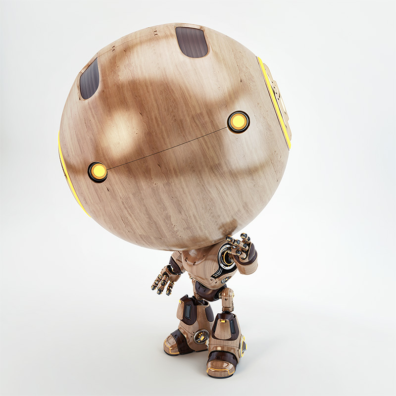 cute robot wood toy