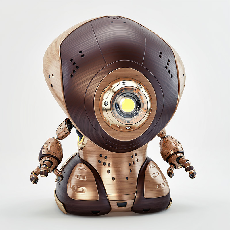wooden retro robot