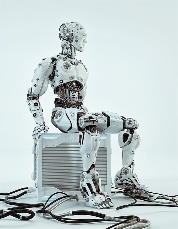 robot sitting on futuristic case box