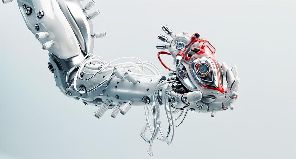 Robot arm holding heart