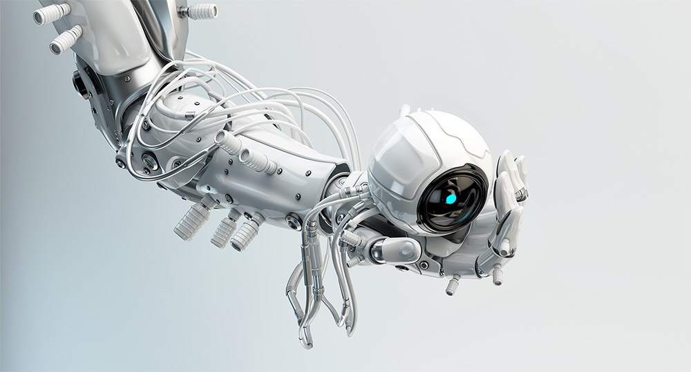 robotic arm holding camera in hand