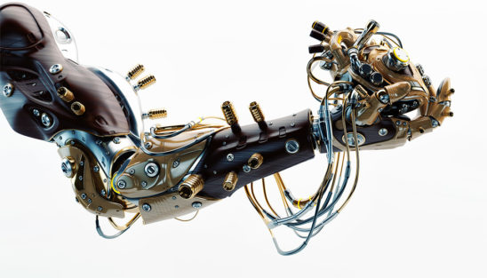 Stylish futuristic robot's arm holds artificial wired heart